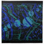 Celestial Techno Blue & Black Pattern Cloth Napkin