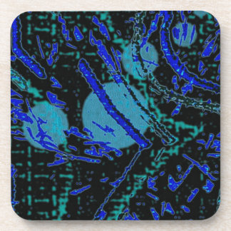 Celestial Techno Blue & Black Pattern Coaster