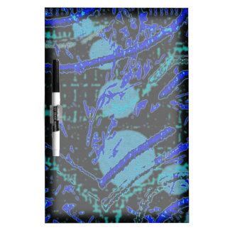 Celestial Techno Blue & Black Pattern Dry Erase Board