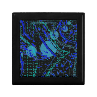 Celestial Techno Blue & Black Pattern Gift Box