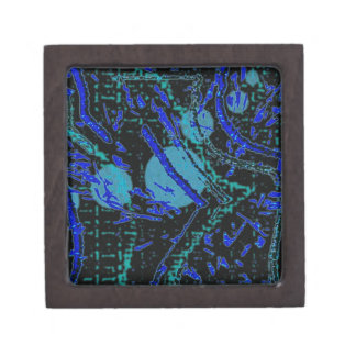 Celestial Techno Blue & Black Pattern Jewelry Box
