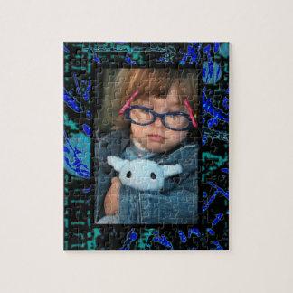 Celestial Techno Blue & Black Pattern Jigsaw Puzzle