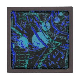 Celestial Techno Blue & Black Pattern Keepsake Box