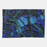 Celestial Techno Blue & Black Pattern Kitchen Towel