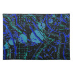 Celestial Techno Blue & Black Pattern Placemat