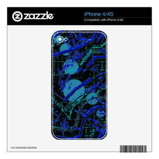 Celestial Techno Blue & Black Pattern Skins For iPhone 4S