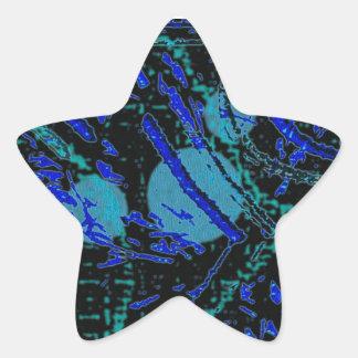 Celestial Techno Blue & Black Pattern Star Sticker
