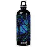 Celestial Techno Blue & Black Pattern Water Bottle