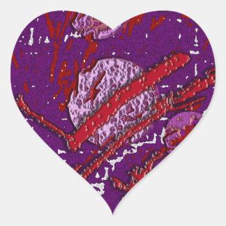 Celestial Techno Red & Purple Pattern Heart Sticker