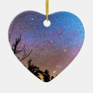 Celestial Universe Double-Sided Heart Ceramic Christmas Ornament