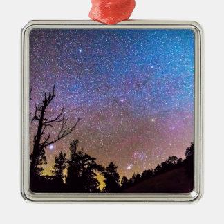 Celestial Universe Square Metal Christmas Ornament