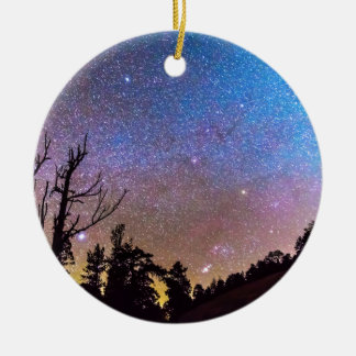 Celestial Universe Double-Sided Ceramic Round Christmas Ornament