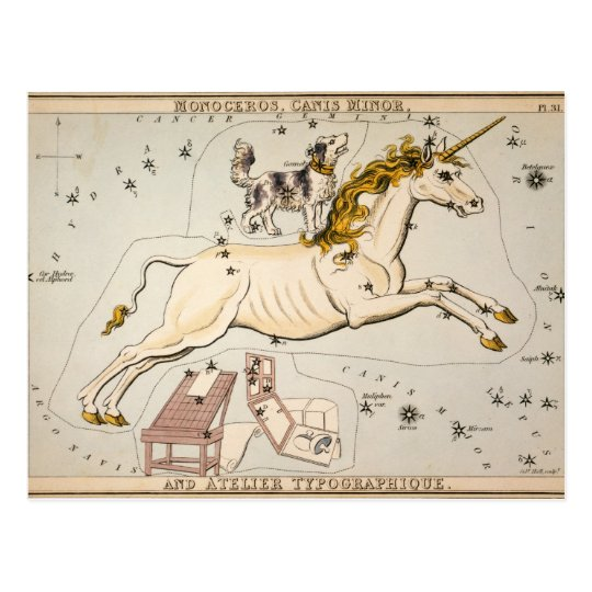 Celestial Vintage Map Postcard