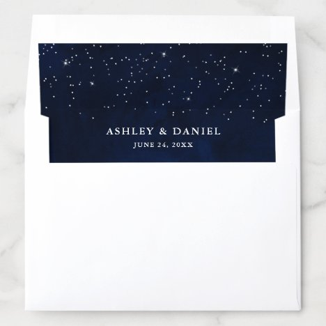 Celestial Wedding Watercolor Blue Sky Stars Envelope Liner