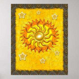 Celestial Whimsey Sun & Star Folk Art Poster