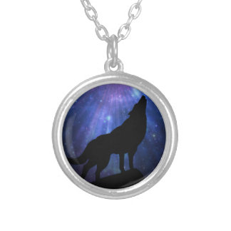 Celestial Wolf Round Pendant Necklace