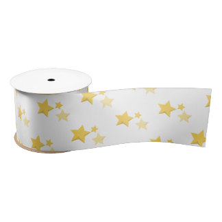 Celestial Yellow Cute Stars Baby Shower Satin Ribbon