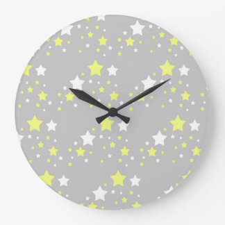 Celestial Yellow White Stars on Grey Gray Large Clock
