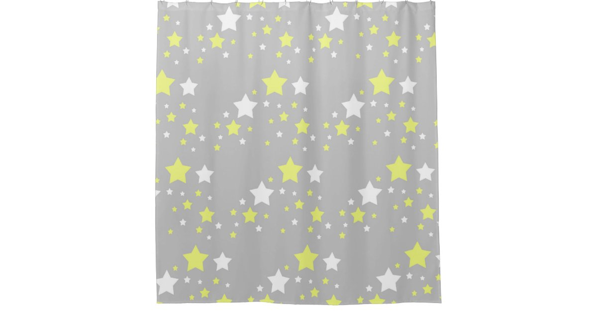 Celestial Yellow White Stars On Grey Gray Shower Curtain