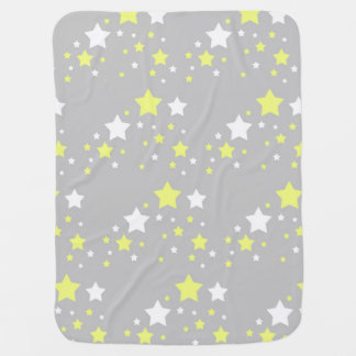 Celestial Yellow White Stars on Grey Gray Swaddle Blanket