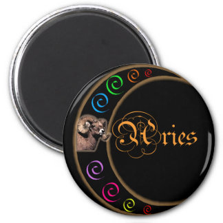 Celestrial Moon Aries 2 Inch Round Magnet