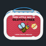 """Celiac Alert Gluten Free Bumble Bee Lunch Box<br><div class=""""desc"""">This little bee is gluten free,  celiac disease lunchbox with &quot;no gluten&quot; symbol. Remind others at meal times of dietary restrictions. Great for kids with celiac for school daycare or use as a safe snack box. Personalize with name or other information. Designs by Lil Allergy Advocates www.lilallergyadvocates.com</div>"""