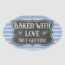 Celiac Baked With Love Not Gluten Chalkboard Oval Sticker