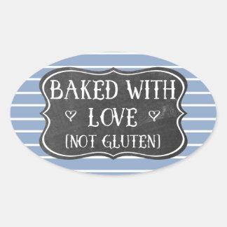 Celiac Baked With Love Not Gluten Chalkboard Oval Sticker