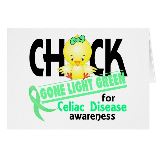 Celiac Disease Chick Gone Light Green 2 Greeting Card