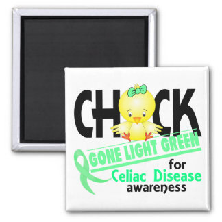 Celiac Disease Chick Gone Light Green 2 2 Inch Square Magnet