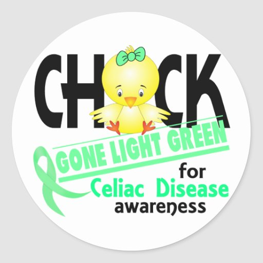 Celiac Disease Chick Gone Light Green 2 Round Stickers