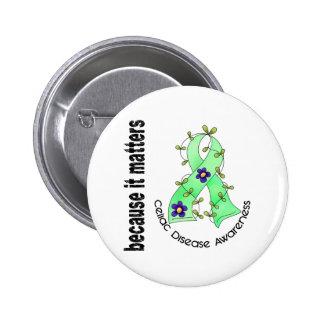 Celiac Disease Flower Ribbon 3 Pinback Button