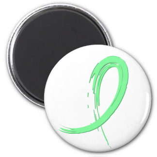 Celiac Disease Light Green Ribbon A4 2 Inch Round Magnet