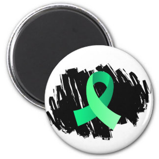Celiac Disease Light Green Ribbon With Scribble 2 Inch Round Magnet