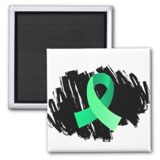 Celiac Disease Light Green Ribbon With Scribble 2 Inch Square Magnet