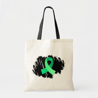 Celiac Disease Light Green Ribbon With Scribble Canvas Bags