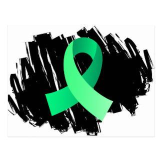 Celiac Disease Light Green Ribbon With Scribble Postcard