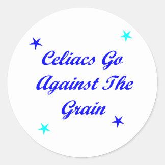 Celiacs va contra el grano pegatina redonda