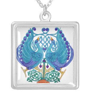 Celic Peacocks Square Silver Necklace