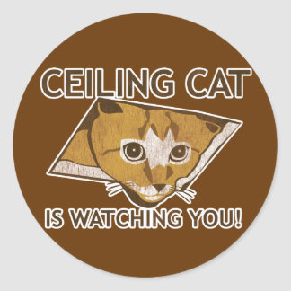 Celing cat is watching you! classic round sticker