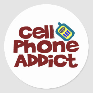 Cell Phone Addict Classic Round Sticker