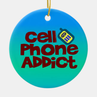 Cell Phone Addict Double-Sided Ceramic Round Christmas Ornament
