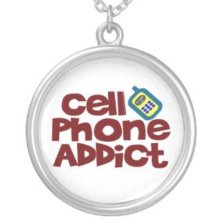 Cell Phone Addict Round Pendant Necklace
