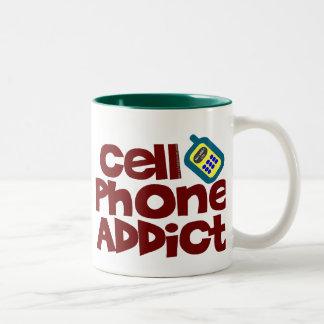 Cell Phone Addict Two-Tone Coffee Mug