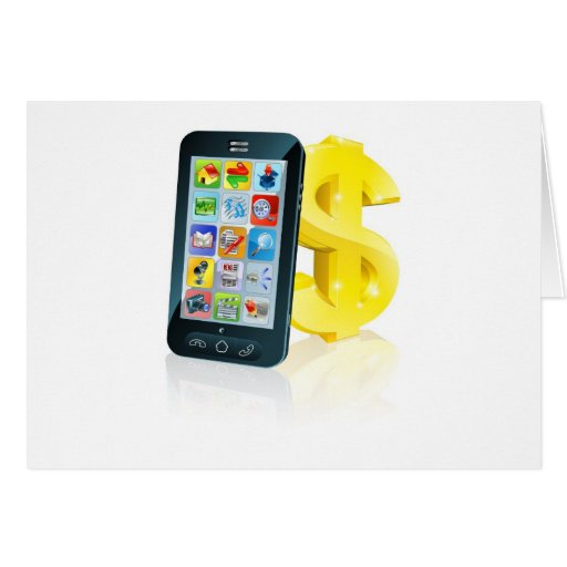 Cell phone and gold dollar sign greeting card