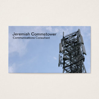 Cell phone antennas on a tower business card