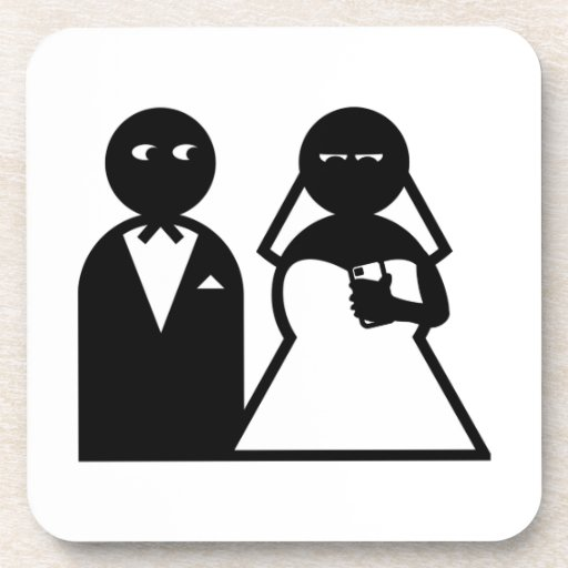 Cell Phone Bride at Wedding Drink Coaster