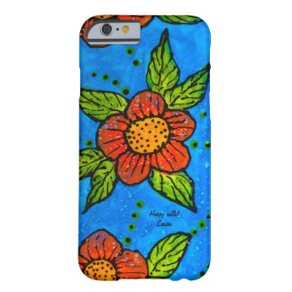 Cell Phone Case red flowers turquoise