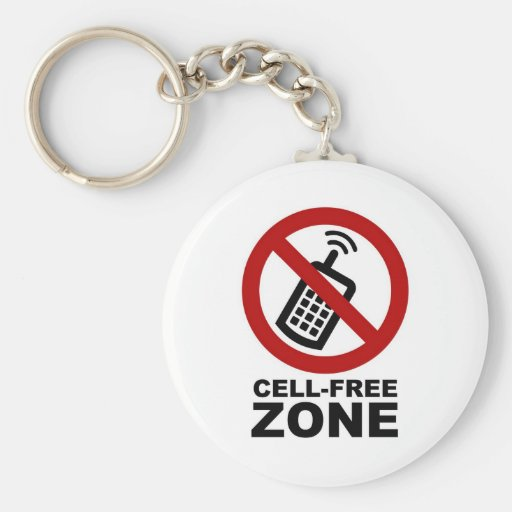 cell phone free zone basic round button keychain zazzle. Black Bedroom Furniture Sets. Home Design Ideas