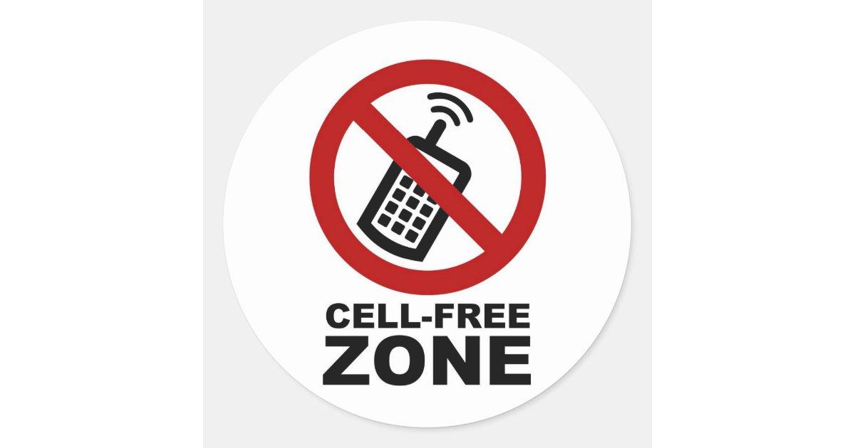 cell phone free zone classic round sticker zazzle. Black Bedroom Furniture Sets. Home Design Ideas